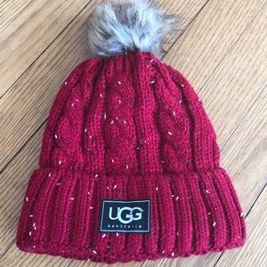 Red tweed cable stitch hat with Pom Pom